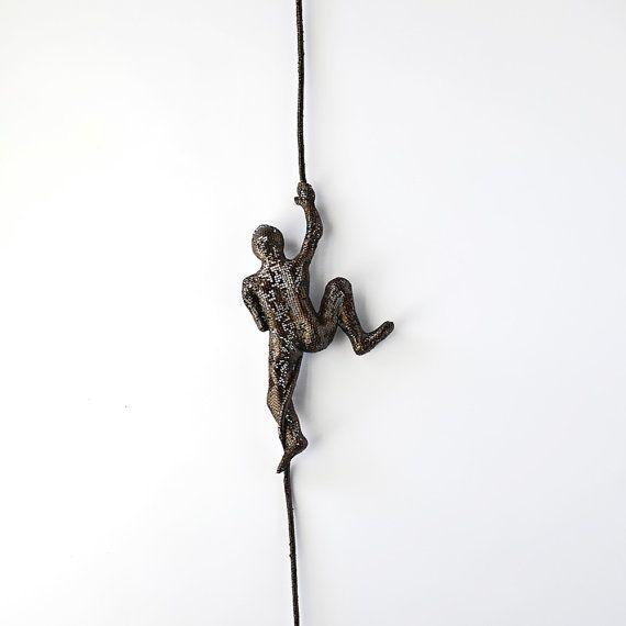 miniature metal sculpture climbing man on rope home decor metal wall art wall hanging - Metal Wall Art Decor And Sculptures