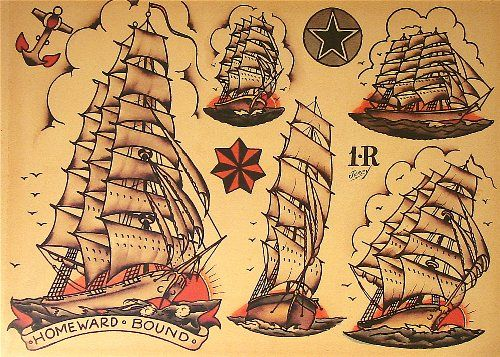 sailor jerry tattoo flash 10 sheets skulls ships hearts body art pinterest classic sail. Black Bedroom Furniture Sets. Home Design Ideas