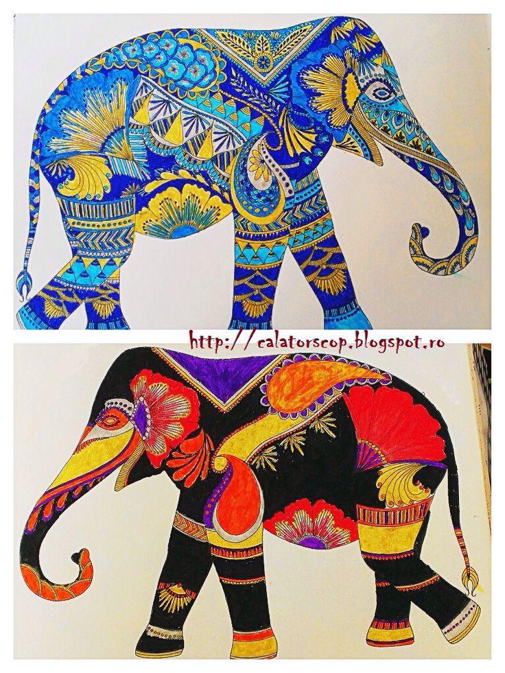 Blue Elephant & Red and Black Elephant (Animal Kingdom by Millie Marotta)