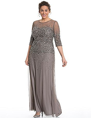 Elegant illusion gown by Adrianna Papell turns all eyes your way with its sweeping silhouette and stunning bead and sequin embellishments. Sheer illusion shoulders and a sweetheart neckline romance the fit, with 3/4 sleeves for confident coverage. Fully lined. Keyhole back with hidden zipper closure. lanebryant.com