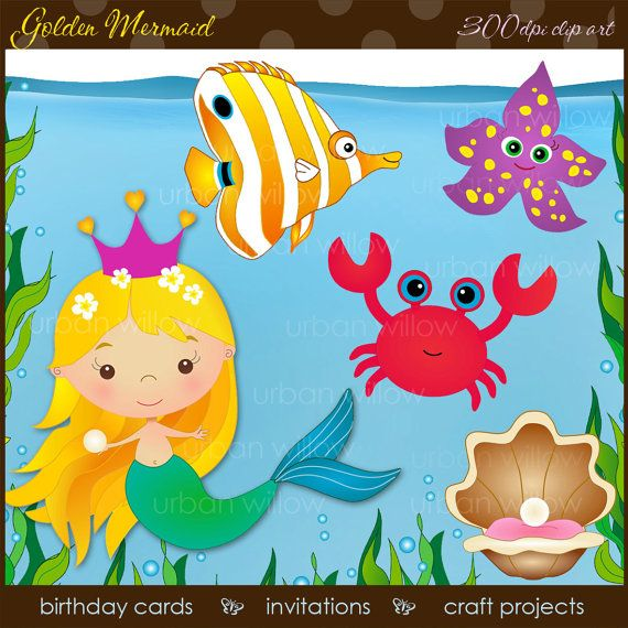 INSTANT DOWNLOAD - MERMAID, Golden - Clip art plus watery background.