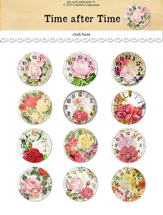 This set of 12 vintage floral clock faces by KB and Friends™ comes as a PDF file, ready for you to download and print immediately after payment. Use