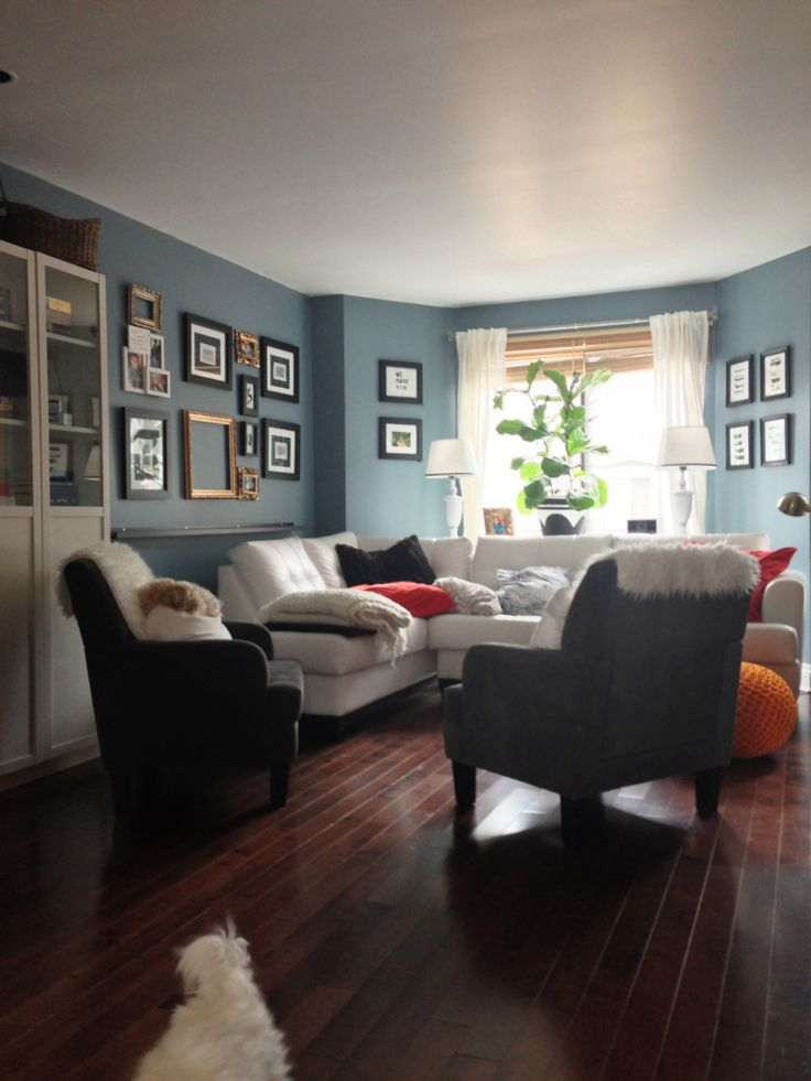 Townhouse Living Room Final Reveal. Bleu loft by behr with touch of gray added to it