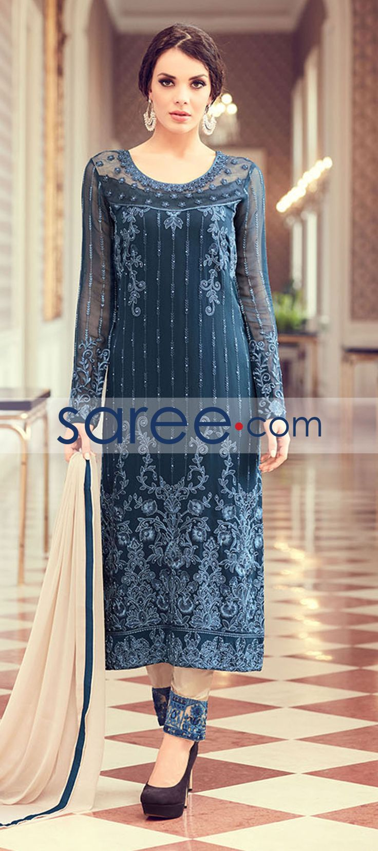 BLUE GEORGETTE SUIT WITH EMBROIDERY WORK #SalwarSuit #SalwarKameez #AnarkaliSuits #StraightCutSuits #CollegeWearSalwarSuits #buyonline #OnlineSalwarSuits #PartywearSalwarSuits #SalwarSuits #Indowestern
