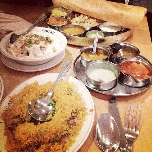 """Lunch special at Sagar """"South Indian vegetarian food – you get poppas, vegetable curry, pilau rice, sambar, AND dessert for less than a tenner.  Sagar Vegetarian , 31 Catherine Street Covent Garden, London, WC2B 5JS Tel – 020 7836 6377 21 Of The Most Delicious Cheap Eats In London"""