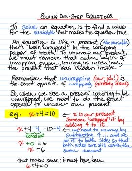 This document explains the process for solving one step equations in the form x   a