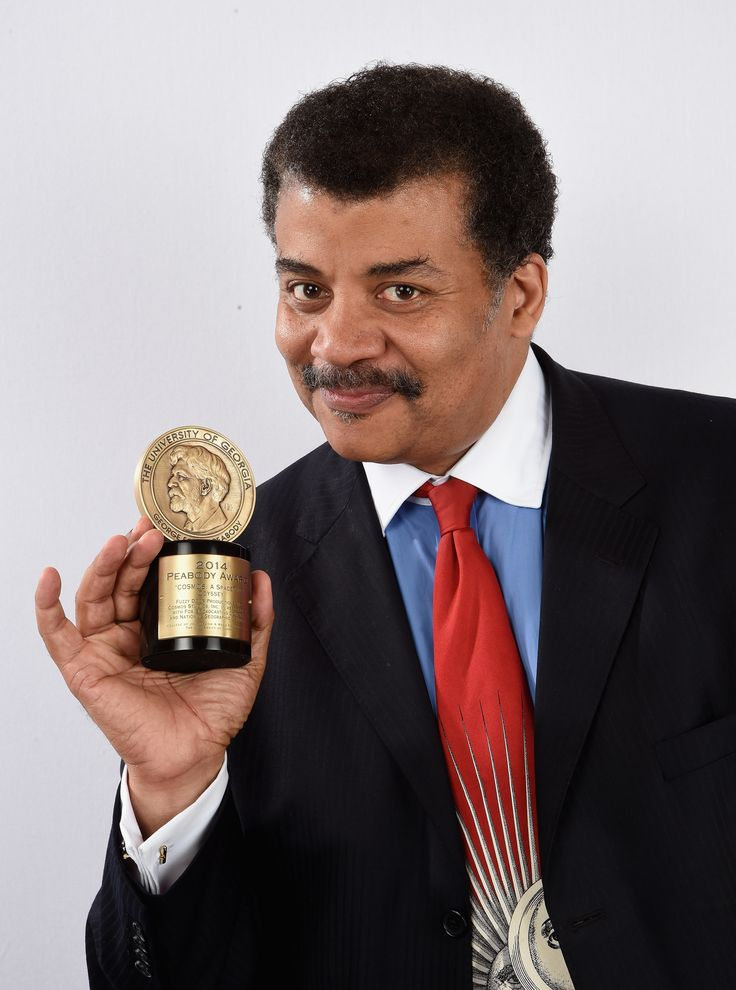NEW YORK, NY - MAY 31:  Astrophysicist and host of 'COSMOS', Neil deGrasse Tyson poses with award during  The 74th Annual Peabody Awards Ceremony at Cipriani Wall Street on May 31, 2015 in New York City.  (Photo by Mike Coppola/Getty Images for Peabody Awards) via @AOL_Lifestyle Read more: https://www.aol.com/article/news/2017/02/02/neil-degrasse-tyson-made-a-stark-warning-about-the-future-of-ame/21705887/?a_dgi=aolshare_pinterest#fullscreen