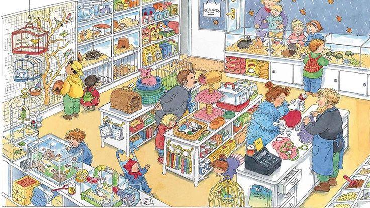Praatplaat Bas - Dierenwinkel (Getekend door Dagmar Stam)