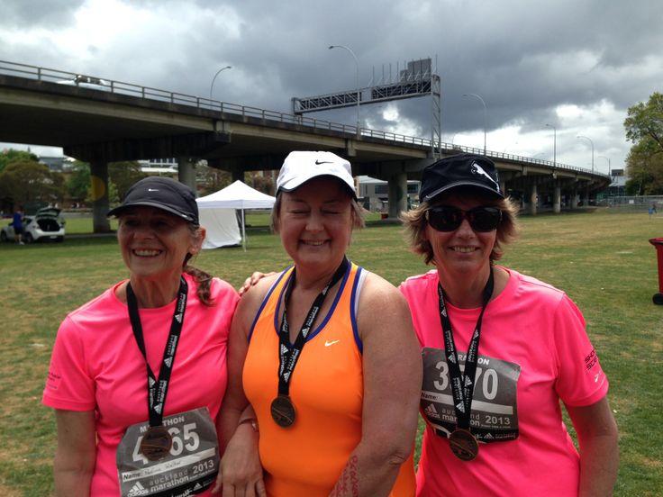 The 3 amazing marathon walkers Auckland marathon 2013. Lynda, Dorothy and Pauline you are a true inspiration!