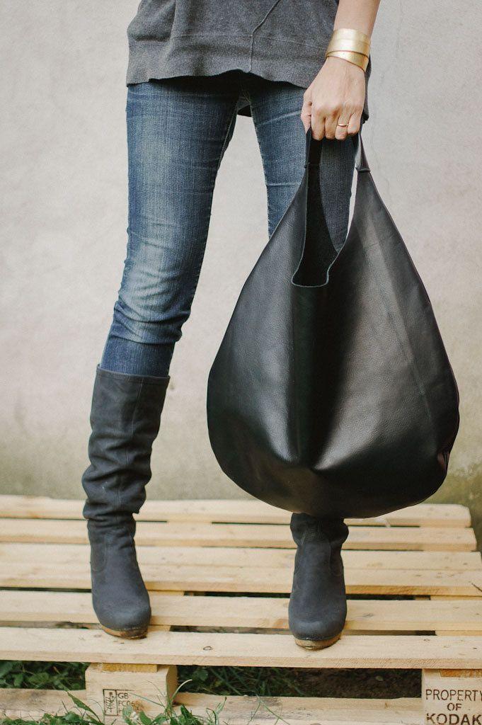 Black Leather Hobo Bag, every day bag, tote bag.