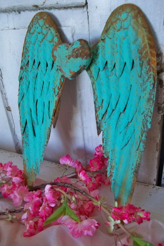 Turquoise metal wall wings with heart deep by AnitaSperoDesign, | Ocean Blue COTM