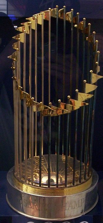 The World Series is the annual championship series of Major League Baseball in North America, contested since 1903 between the American League champion team and the National League champion team. The winner of the World Series championship is determined through a best-of-seven playoff, and the winning team is awarded the Commissioner's Trophy.[1] As the series is played in October , during the autumn season in North America, it is often referred to as the Fall Classic.[2]