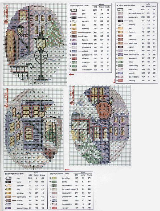 Зимние домики: 29 схем для вышивки крестом - Ярмарка Мастеров - ручная работа, handmade