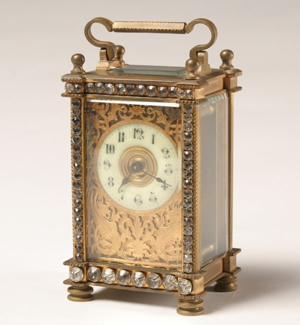Studded Brass Carriage Clock Painted Face
