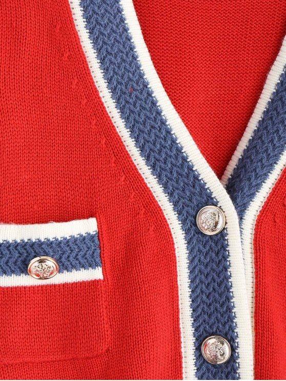 Front Pockets V Neck Cardigan - RED ONE SIZE