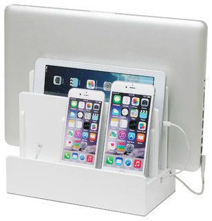 High Gloss Multi-Charging Station, White, With Usb Power Strip - Contemporary - Charging Stations - by Great Useful Stuff