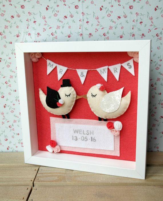 Personalised Wedding Gift Felt Love Birds Mr By DanielleLDesigns