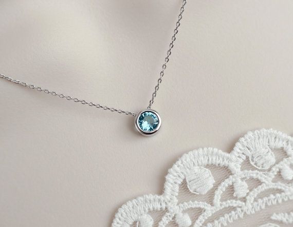 Aquamarine Necklace Aquamarine Round Bezel by CrinaDesign73