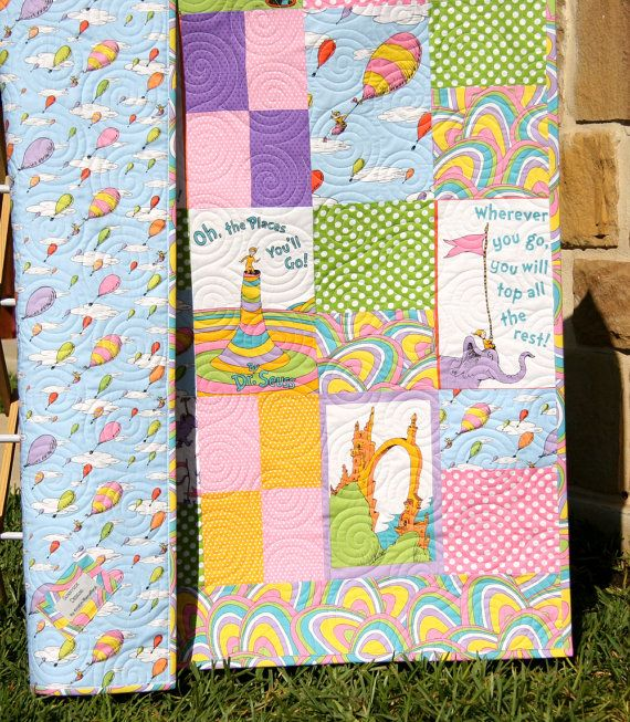 """Dr. Seuss hand made quilt for baby's room.  Beautiful!  Definitely on my """"Wish I could afford it"""" list!"""
