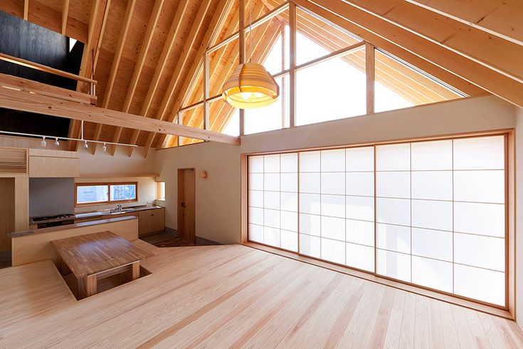 Sunken Dining Table   tailored design lab crafts a gabled timber home in japan's saitama prefecture   Designboom