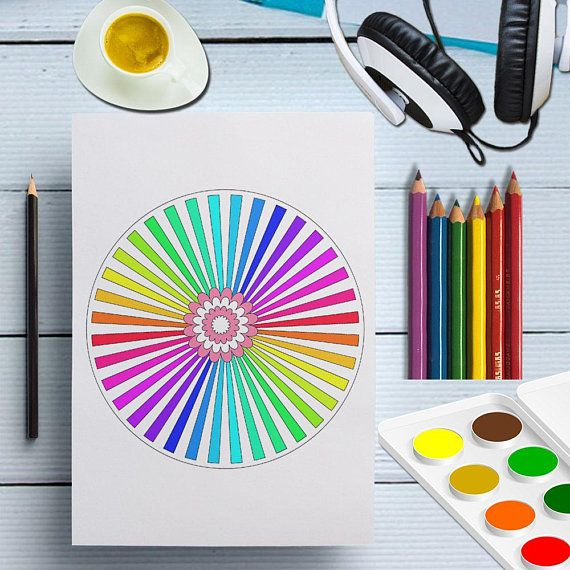 Geometric Mandala Coloring Page Printable Easy Coloring Etsy Zeichnen Farben
