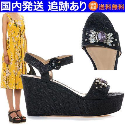 SS クリスタル ラフィア ウェッジサンダル☆ドルチェ&ガッバーナ