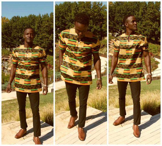 NEW Men's Dashiki Shirt Round Neck Kente Shirt by MawusiClothing