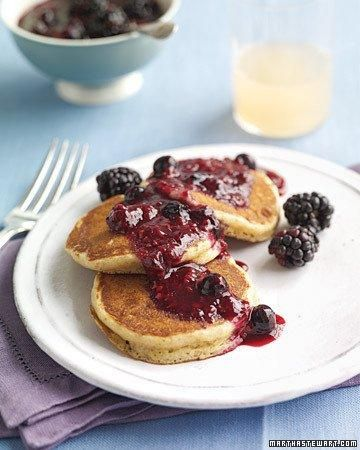 Whole Grain Goodness // Whole-Wheat Pancakes with Berry Compote RecipeHealthy Pancakes, Waffles Recipe, Pancakes Recipe, Healthy Breakfast Recipe, Blueberry Compote, French Toast, Pancakes Breakfast, Martha Stewart, Whole Wheat Pancakes