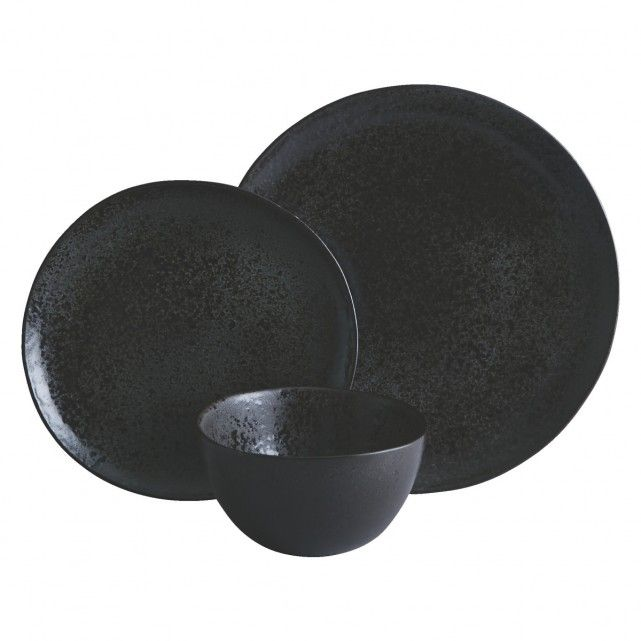 A graphite reactive glaze gives the Noir 12-piece dinnerware set its intriguing, subtly textured surface, lightly speckled with matt and shiny areas.[br]Made in Portugal from stoneware and exclusive to Habitat, the set is suitable for everyday use and, due to the nature of the glaze, each piece is unique. The colour may vary from graphite black to light brown speckles.[br]The Noir set comprises 4 dinner plates, 4 side plates and 4 cereal bowls, which are also available individually, together…