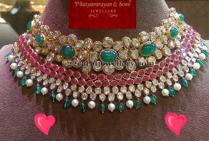 Jewellery Designs: Pachi Work Rubies Choker
