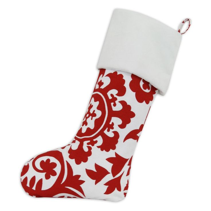 Brite Ideas Living Suzani Red and White Christmas Stocking with Optional Personalization - TT193157-PERSONALIZED - RED THREAD