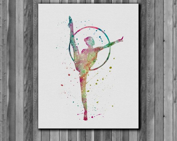 Gymnastics Watercolor Print Instant Download Printable You'll receive an 8x10 inch printable INSTANT DOWNLOAD of a wonderfully creative art print