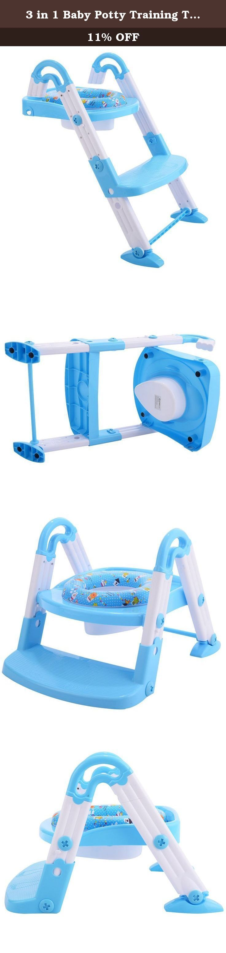 3 in 1 Baby Potty Training Toilet Chair Seat Step Ladder Trainer Toddler Blue. Brand new and high quality Helps child become independent while toilet training A self standing potty seat for toilets that is designed with bright and cheerful colors and will encourage your toddler to want to use their potty seat every day. Made with skid proof, non slip materials Made to use on-the-toilet with a built-in step stool, and a comfortable, toddler toilet seat insert. Made of easy-to-clean...