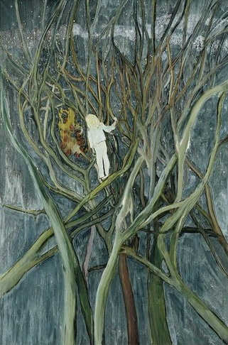 "This painting was created in 1959 and is called ""Girl in white with trees"". This painting gives an illusion of a fantasy place. The branches are detailed in an unrealistic way. Furthermore, the girl in white has an anime effect to it and the brush stroke in the background gives it a messy view that binds the painting."