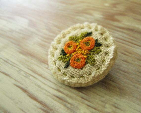 Orange Bouquet Embroidered Brooch by Sidereal on Etsy, $28.00