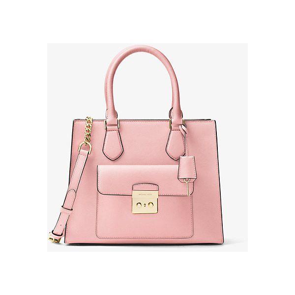 MICHAEL Michael Kors Bridgette Medium Saffiano Leather Tote ($251) ❤ liked on Polyvore featuring bags, handbags, tote bags, pink, pink tote handbags, tote handbags, michael michael kors tote, pink tote bags and handbags totes
