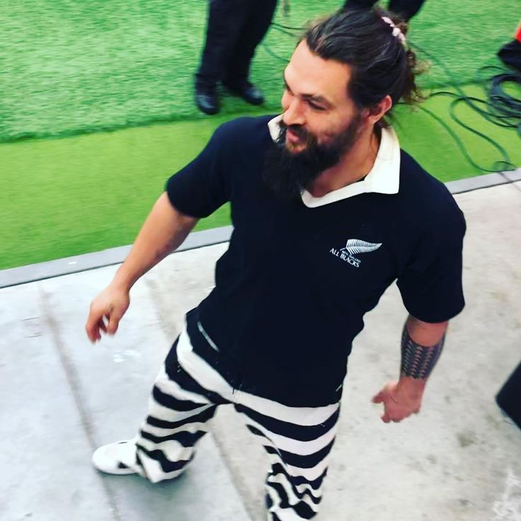 Jason Momoa On The Side Lines @ An All Blacks Rugby Game