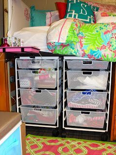 Okay this girl is a bit much but i must say some good - College dorm storage ideas ...