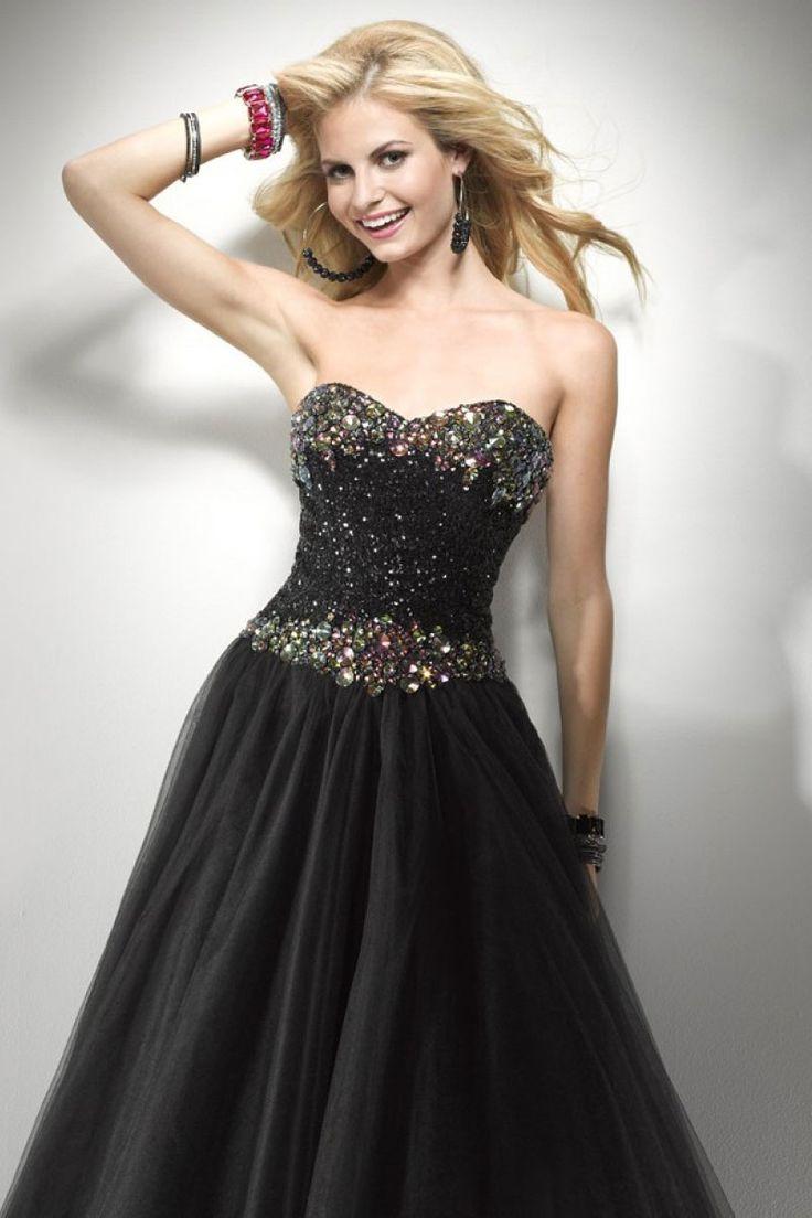 black princess sweetheart prom dress