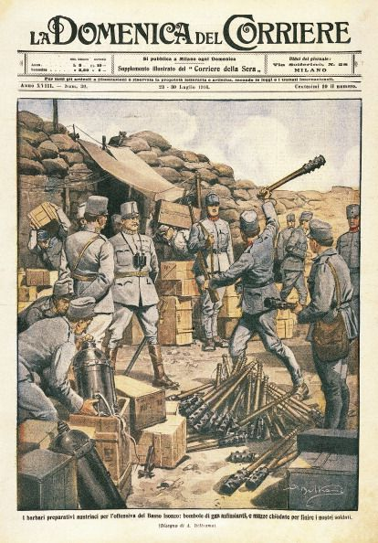 """""""Austrian Barbarians making preparations for the offensive on the lower Isonzo"""". By Achille Beltrame from La Domenica del Corriere 23 July 1916."""