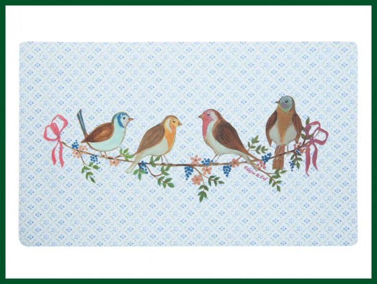 Design Fußmatte Vögel Gummimatte Romantik blau
