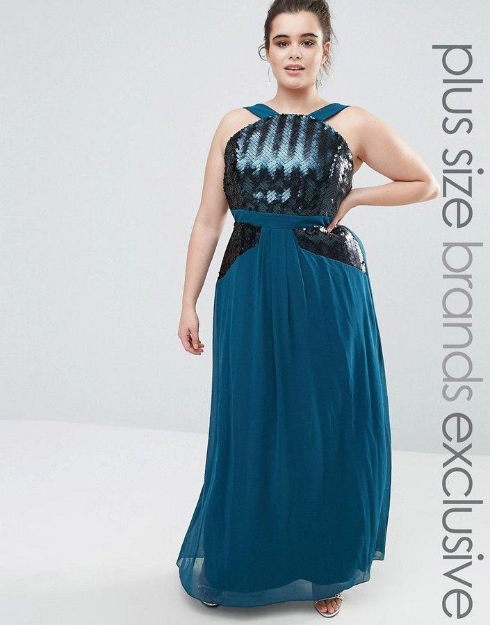 Little Mistress Plus Sequin Detail Halter Neck Maxi Dress