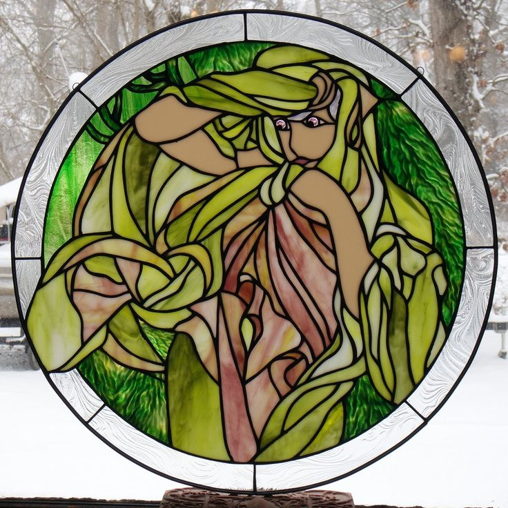 "Alphonse Mucha 3 March 24"" Stained Glass Pattern  Artist Ruth Green"
