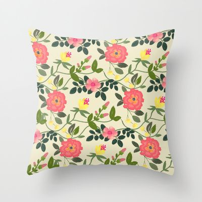 Watercolor flowers Throw Pillow by Babiole Design - $20.00