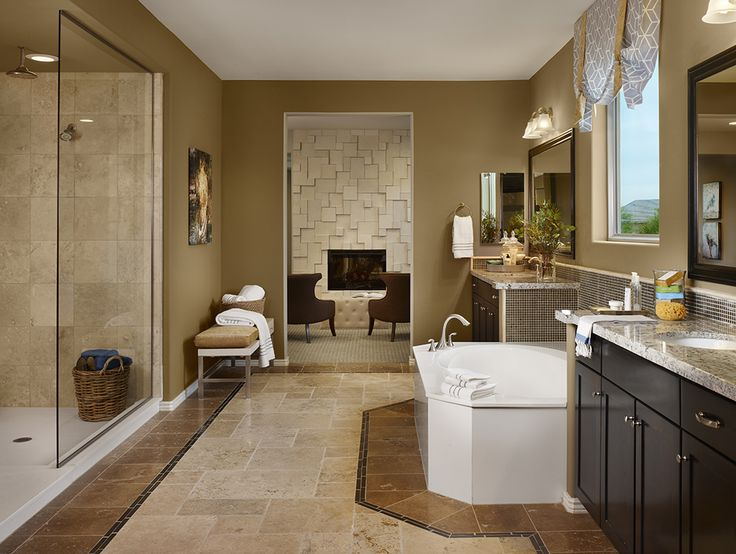 Gehan Homes Master Bathroom Dark Cabinets Brown And Tan