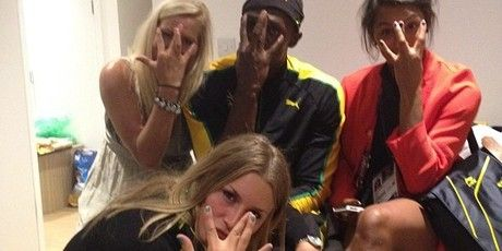 Usain Bolt and the Swedish hand ball team. This gives a whole new meaning to the word HANDBALLERS.