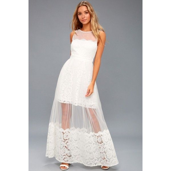 Lulus  Minnie White Lace Maxi Dress ($120) ❤ liked on Polyvore featuring dresses, gowns, white, floral maxi skirt, maxi dresses, floral maxi dress, long white maxi skirt and long maxi skirts