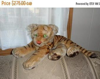 DISCOUNTED Vintage STEIFF-GUND Reclining Tiger/Reclining Plush Mohair Stuffed Toy Tiger 1958/Plush Stuffed Tiger/Mohair/1958 Toy/Highly Coll