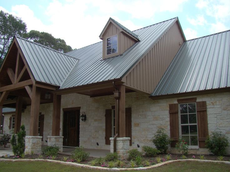 exterior style of home wood peaks, rock and panel - Google Search