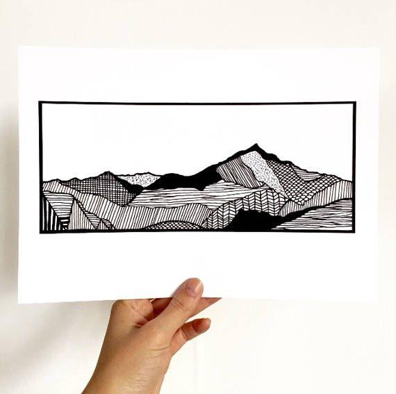 A4 / A5 / A6 Snowdon Mountain Print North Wales Landscape